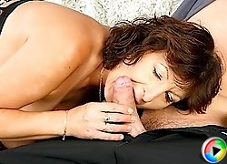 Licking and stroking hard cock
