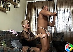 Tattooed Grannie gets young cock!