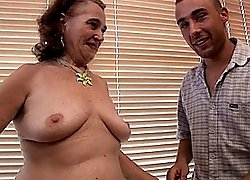Granny\'s hairy pussy gets double fucked in all positions