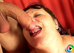 The fat mature loves everything in excess and these two guys show her a great time