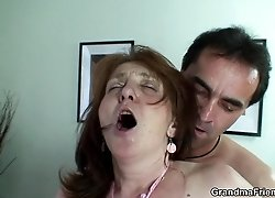 Two guys give this mature slut the kind of sexy she dreams so lustily about