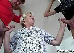 The young guys can't get enough of the old slut and they really hammer her hard