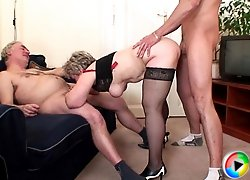 Younger man joins husband and granny wife for a hardcore fuck with great passion