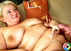 Mature blonde is fat and horny and he fucks her flabby pussy and makes her big tits bounce