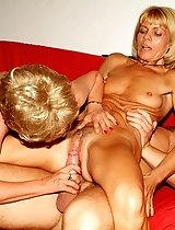 Sassy mature blondes Ritta and Rosalie sharing a cock and taking equal turns in fucking it