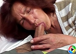 His mother in law is a very dirty girl and sits on his cock with her wet pussy