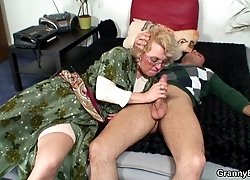 He plunges his cock into the naughty grandma from behind and she loves every inch