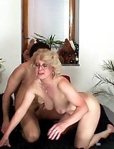 Dirty granny lets him fuck her pussy and cum on her so she can have a taste of it