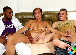 Threesome with a black guy, a white guy, and a granny that wants her body violated