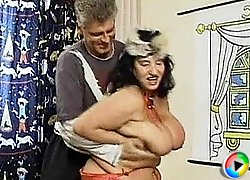 Fat granny gets drilled from behind