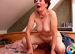 Horny old lady riding huge dick